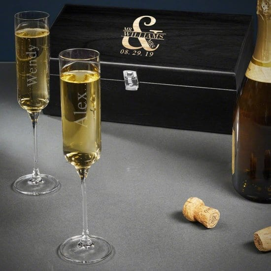 Custom Champagne Gift Box Set Anniversary Gifts for Parents
