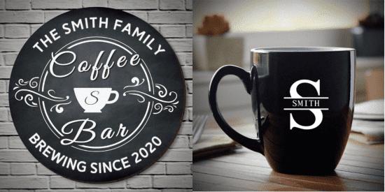 Custom Sign and Mug Coffee Gift Set