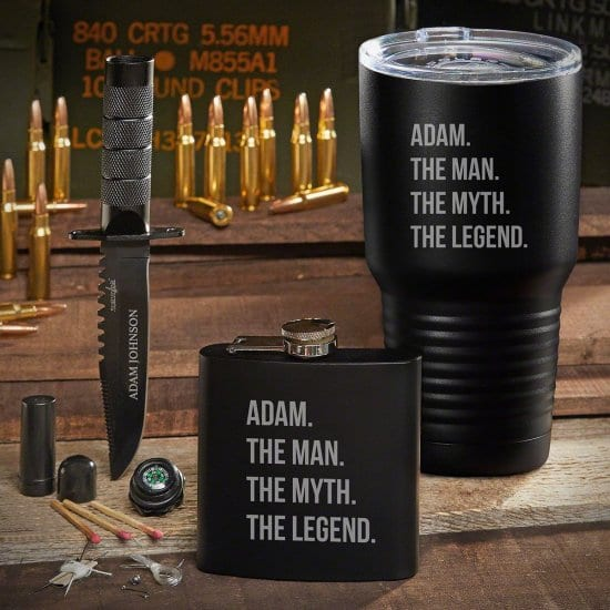 Engraved Tumbler Flask and Survival Knife
