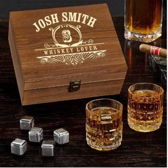 Crystal Glass Box Set with Whiskey Stones