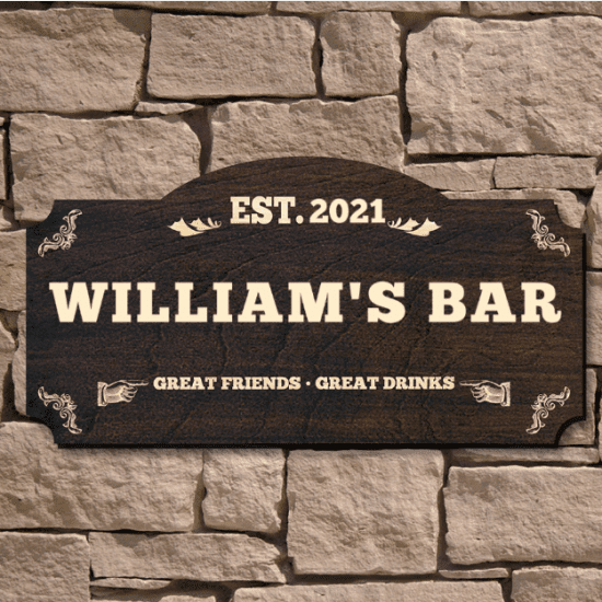 Custom Made Signs for Home Bar