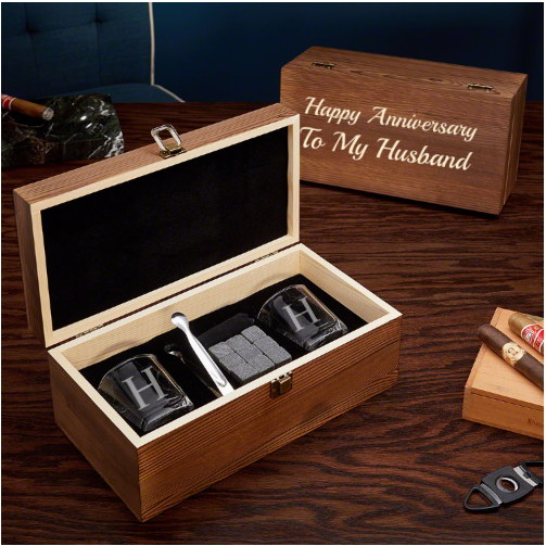 Personalized Whiskey First Wedding Anniversary Gift for Him