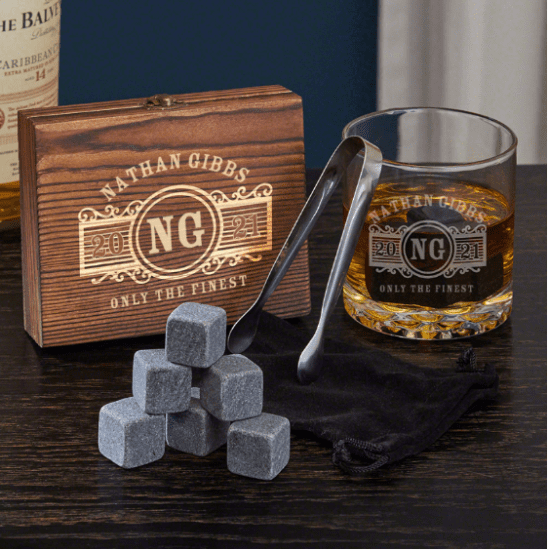 Personalized Whiskey Glass and Stone Set