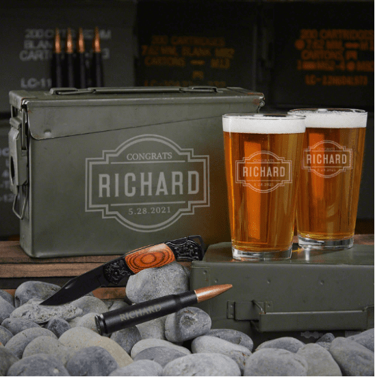 Engraved Beer Ammo Can Set