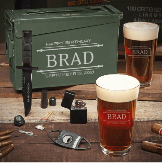 Personalized Beer Ammo Can Set of Gifts for Husband Birthday