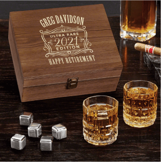 Custom Whiskey Box Retirement Gift Basket Ideas