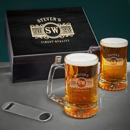 Engraved Beer Mugs Box Set of 1 Year Anniversary Gifts for Him