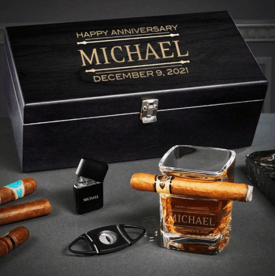 Best Anniversary Gift for Husband is Cigar Whiskey Box Set
