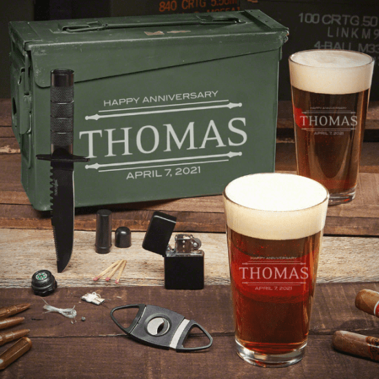 Wedding Anniversary Gifts for Husband is a Beer Ammo Can Set