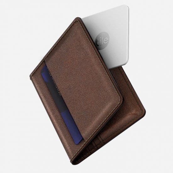 Leather Wallet with Built-In Tile
