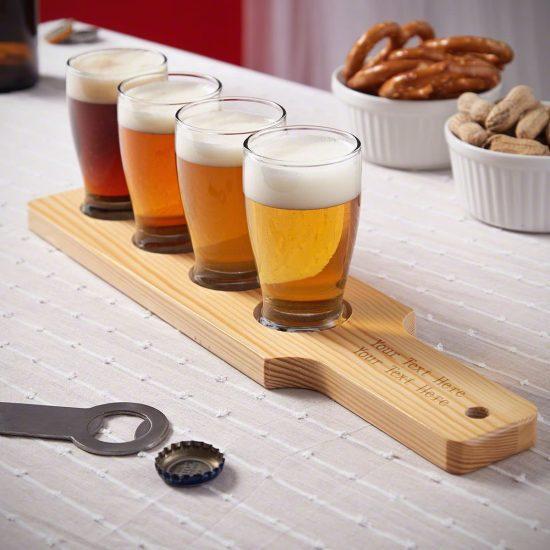 Engraved Wooden Flight for Beer Set