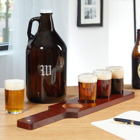 Beer Growler and Beer Flight Set