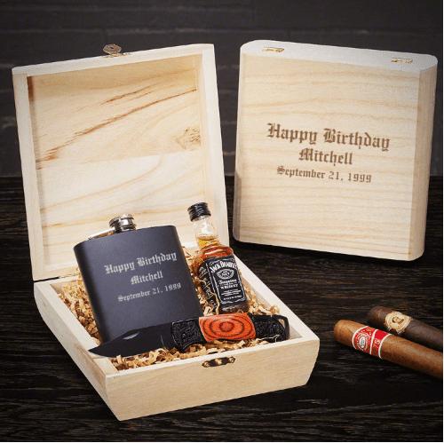 Customizable Flask Birthday Gift Set
