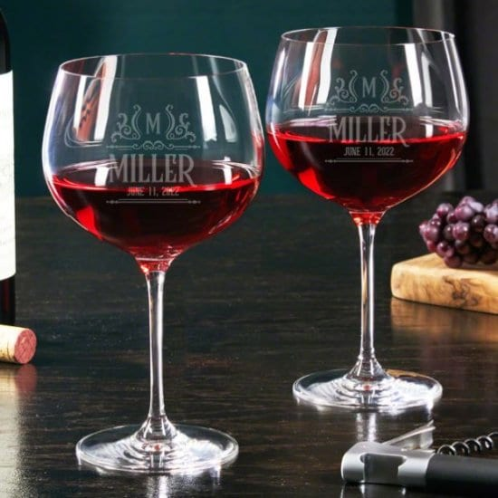Etched Balloon Wine Glasses Set of Two