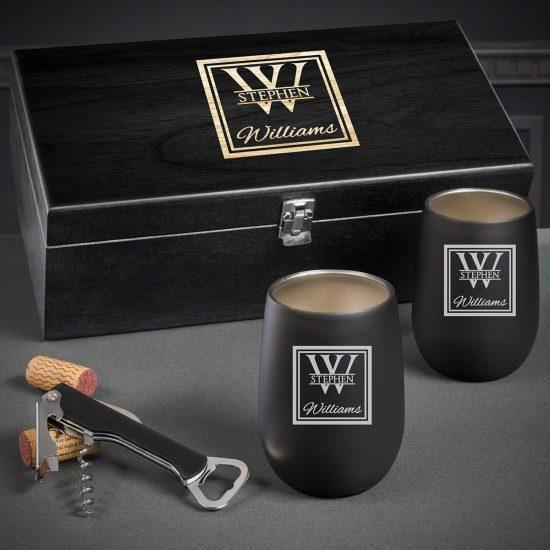 Etched Wine Tumbler Set of Quarantine Birthday Gifts