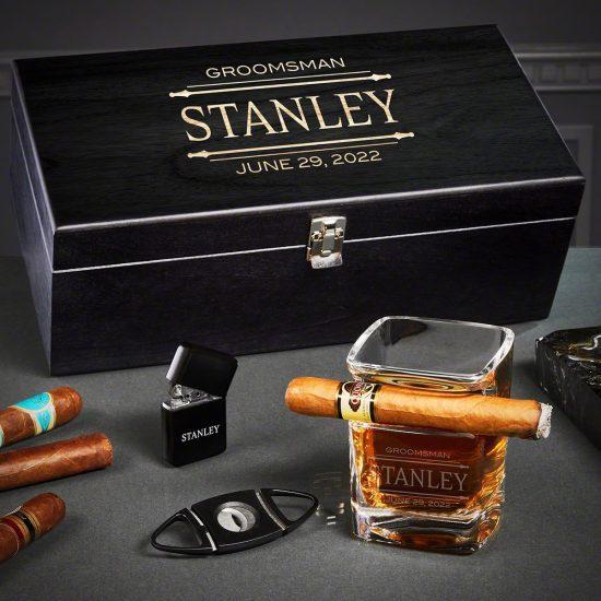 Custom Cigar and Whiskey Box Set
