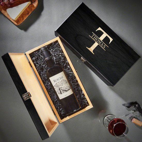 Engraved Wine Bottle Box Quarantine Anniversary Gift
