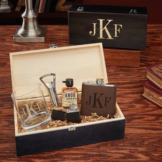 Monogrammed Box Set of Gifts for Husband on Wedding Day