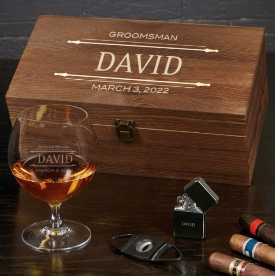 Personalized Cognac and Cigar Gift Basket