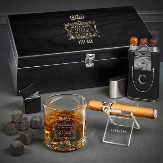Cigar and Whiskey Set of Unique Best Man GIfts