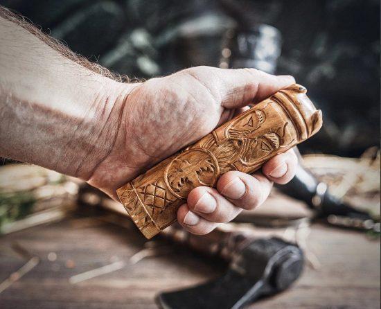 Carved Wooden Odin Figurine