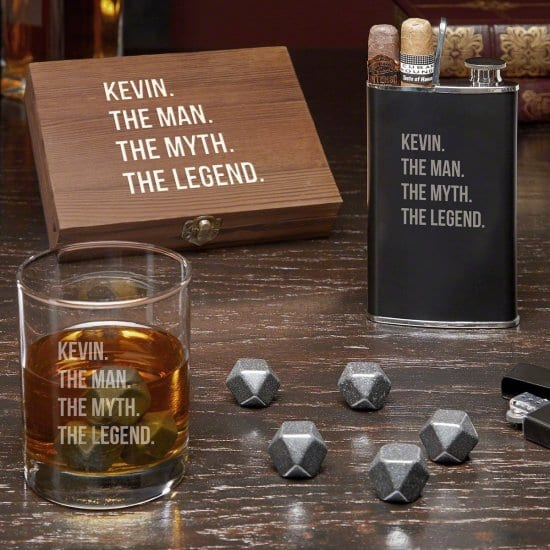 Engraved Whiskey Stone and Cigar Flask Gift