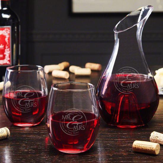 Etched Wine Decanter Set