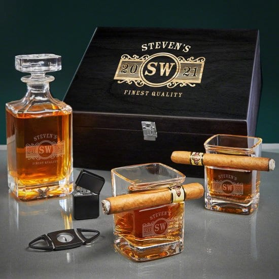 Cigar and Whiskey Box Set of Christmas Present for Dads