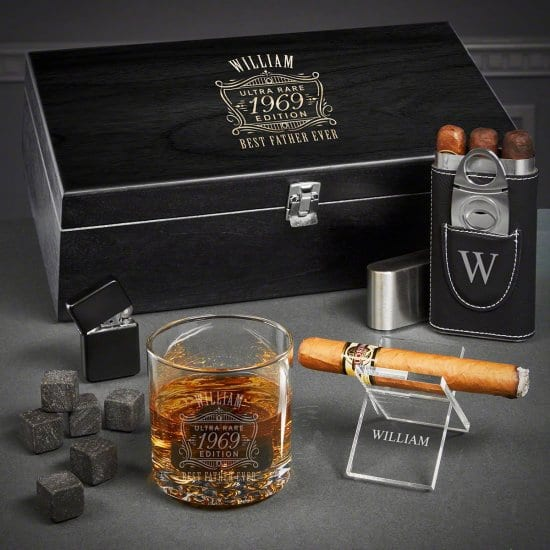 Fathers Day Gift Basket for Cigars and Scotch