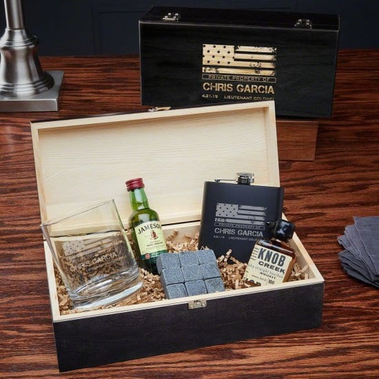 Flask Rocks Glass Box Set of Gifts for Military Man