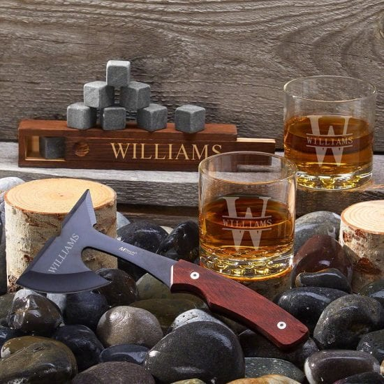Personalized Axe and Whiskey Gift Set