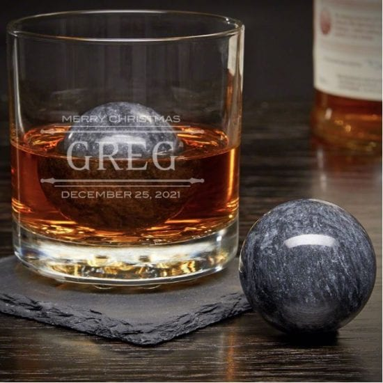 Engraved Whiskey Glass with Chilling Stones