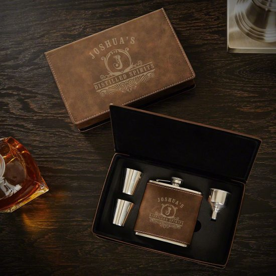 Embossed Flask Bos Set with Shot Glasses