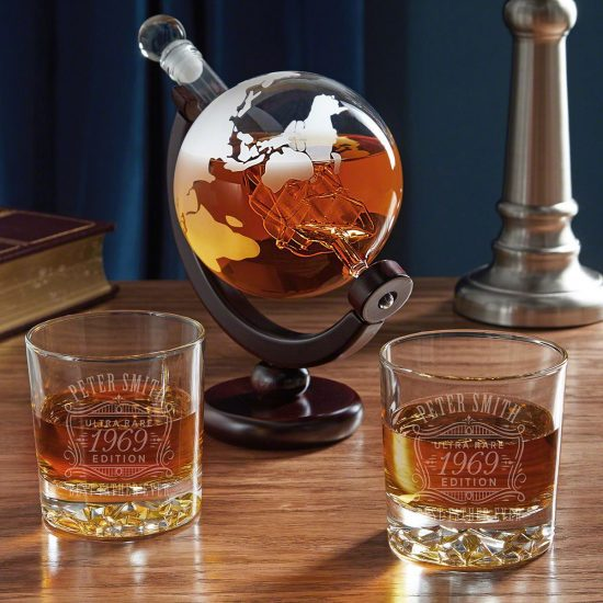 Globe Decanter with Personalized Bourbon Glasses
