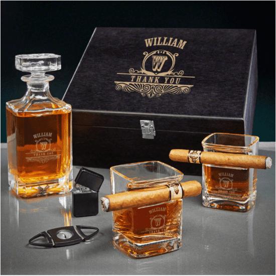 Custom Cigar and Decanter Box Set