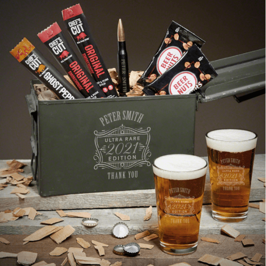 Engraved Beer Ammo Can Thank You Gift Basket Idea