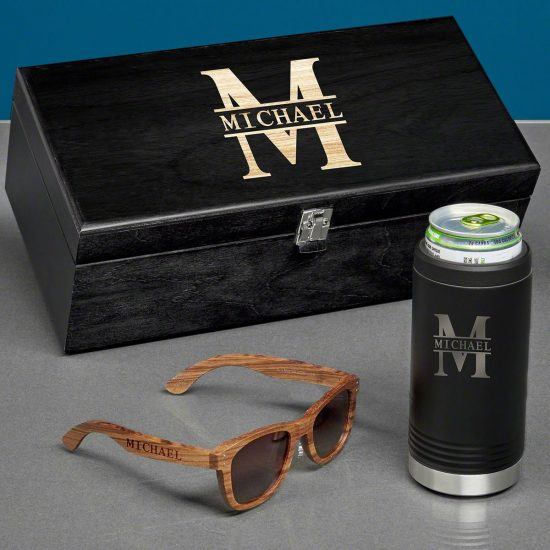 Personalized Seltzer and Sunglasses Gift Box