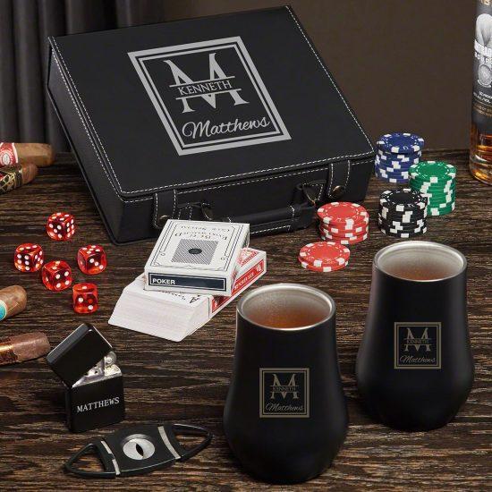 Poker Set Gift Basket with Whiskey Glasses