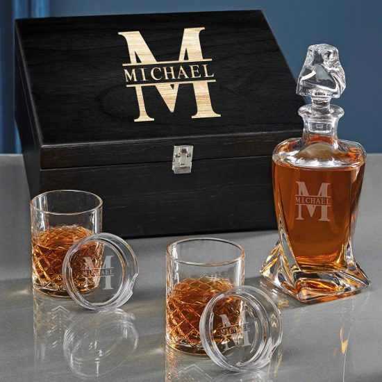 Twist Decanter with Crystal Bourbon Glasses
