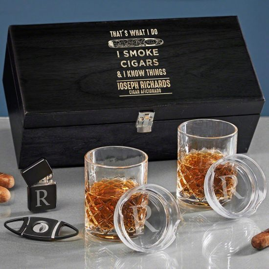 Cigar and Whiskey Box Set of Christmas Gifts for Men