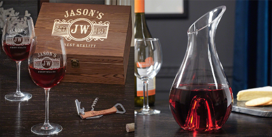 Etched Wine Decanter Box Set