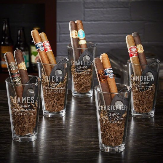 Pint Glass Cigar Set of Unique Groomsmen Gifts