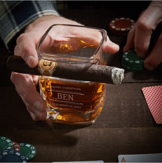 Etched Cigar Whiskey Glass