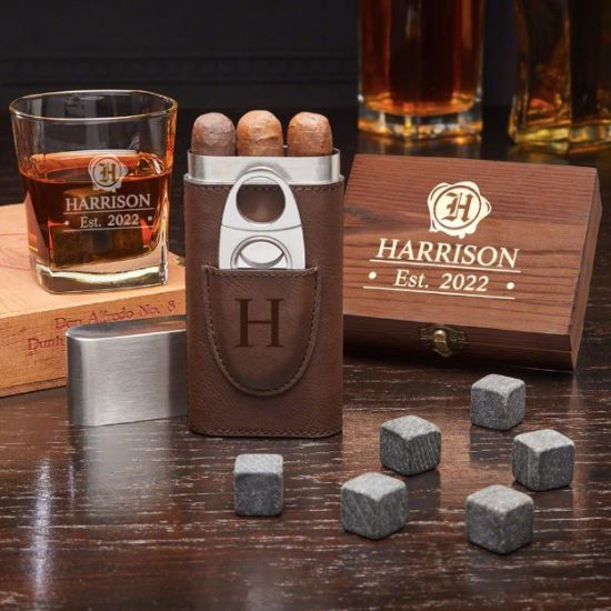 Engraved Whiskey Stone Set with Cigar Case