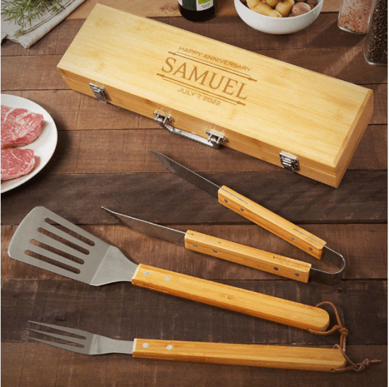 Personalized Bamboo BBQ Tools for Anniversary