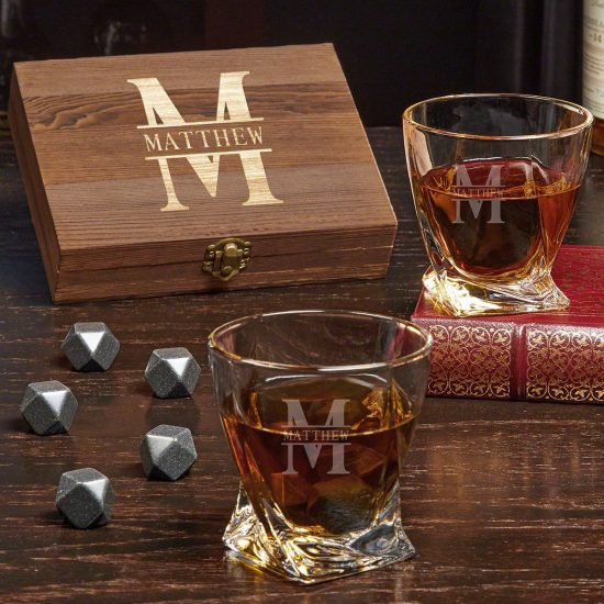 Twist Whiskey Stone Set of Anniversary Gifts for Parents