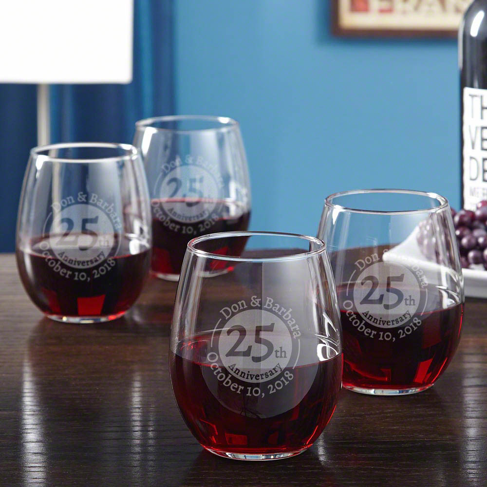 Landmark Anniversary Personalized Wine Glasses, Set of 4