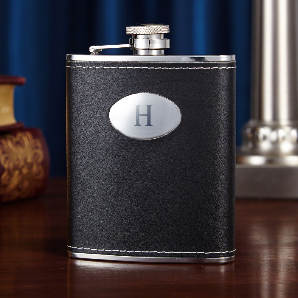 Black-Leather-Hip-Flask-(Engravable)