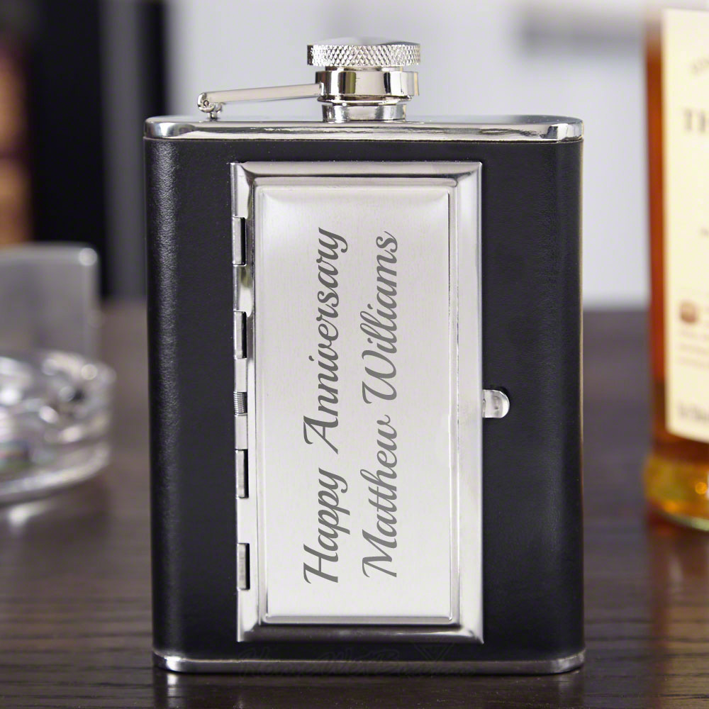 Smooth Black Leather Cigarette Flask (Engravable)