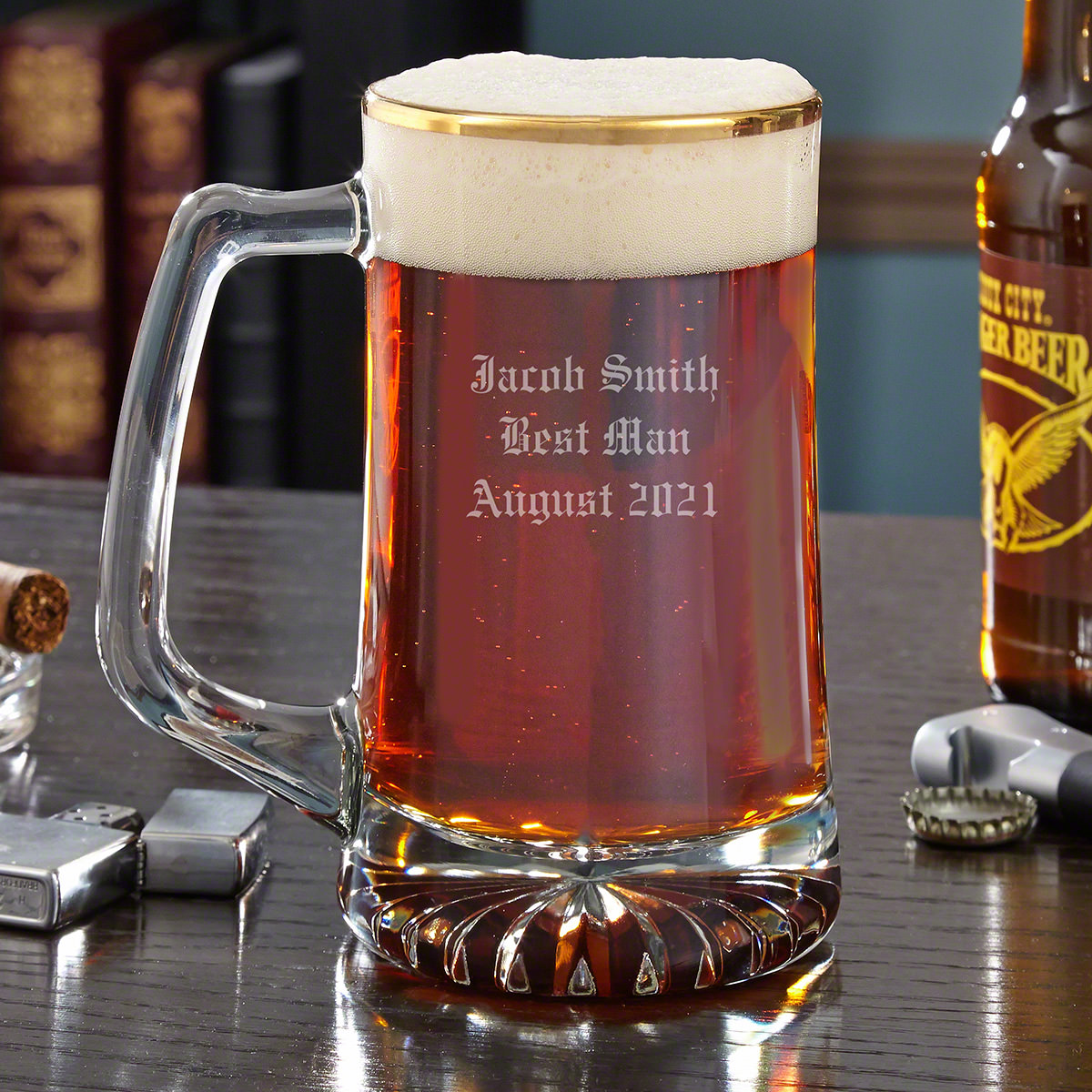 Clean-cut, good looking, and impressive...yes, your favorite beer mug just got a little more stately. Crafted from premium, high quality glass with a sophisticated gold rim, this classic personalized beer glass holds an impressive 25oz of your favorite br #mug